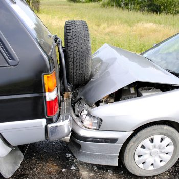 Accident of two cars on a highway
