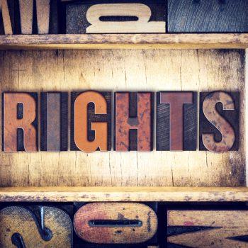 "The word ""Rights"" written in vintage wooden letterpress type."