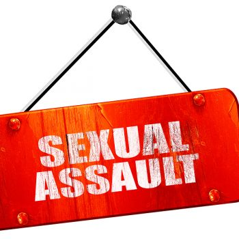 sexual assault, 3D rendering, vintage old red sign